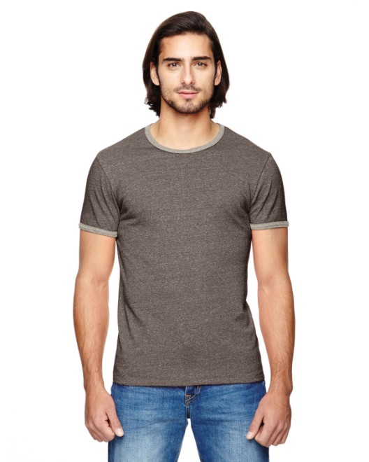 Picture of Alternative 01957E Men's Eco-Mock Twist Ringer Crew T-Shirt