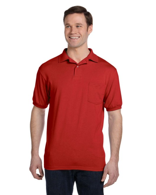 Picture of Hanes 054P Adult 5.2 oz., 50/50 EcoSmart Jersey Pocket Polo