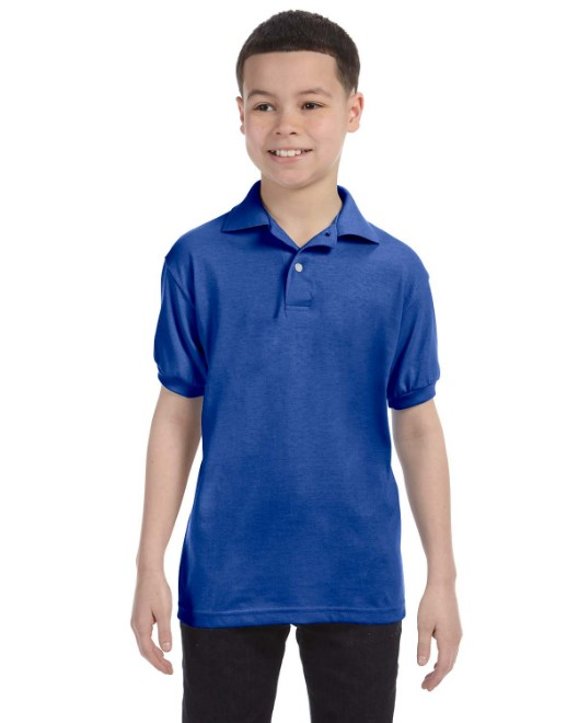 e3a291f9 Hanes 054Y Youth 5.2 oz., 50/50 EcoSmart Jersey Knit Polo