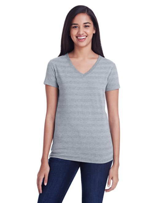 Picture of Threadfast Apparel 252RV Womens Invisible Stripe V-Neck T-Shirt