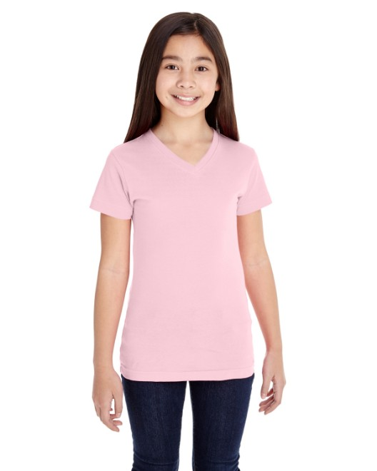 Picture of LAT 2607 Girls' V-Neck Fine Jersey T-Shirt