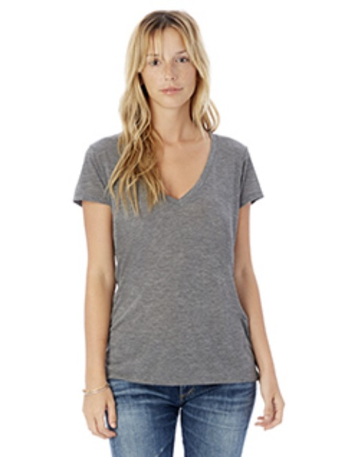 Picture of Alternative 2894B2 Womens Melange Burnout Slinky V-Neck T-Shirt