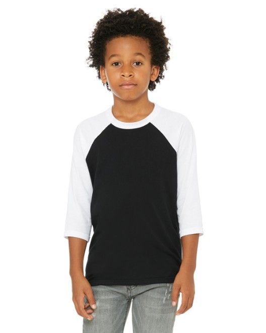 Picture of Bella + Canvas 3200Y Youth 3/4-Sleeve Baseball T-Shirt