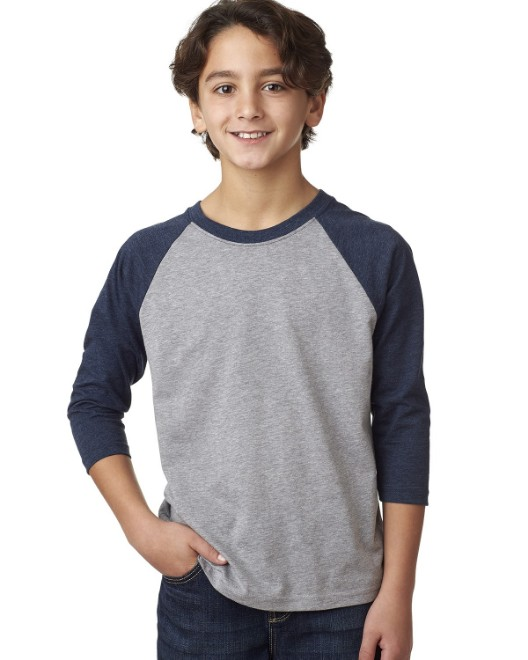 Picture of Next Level 3352 Youth CVC 3/4-Sleeve Raglan