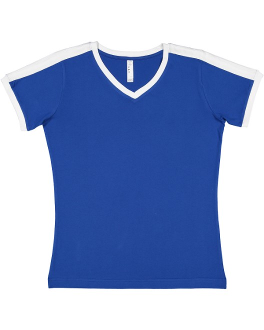 Picture of LAT 3532 Womens Soccer Ringer Fine Jersey T-Shirt