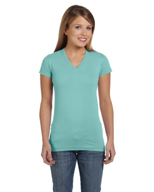 Picture of LAT 3607 Womens Junior Fit V-Neck Fine Jersey T-Shirt
