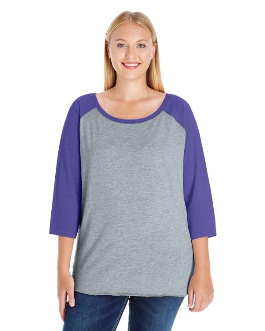 Picture of LAT 3830 Womens Curvy Baseball Premium Jersey T-Shirt