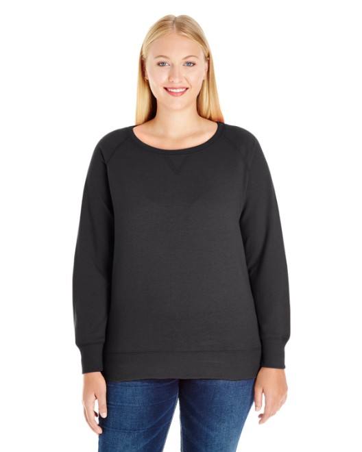 Picture of LAT 3862 Womens Curvy Slouchy French Terry Pullover