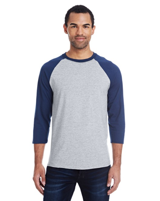 Picture of Hanes 42BA Men's 4.5 oz., 60/40 Ringspun Cotton/Polyester X-Temp Baseball T-Shirt