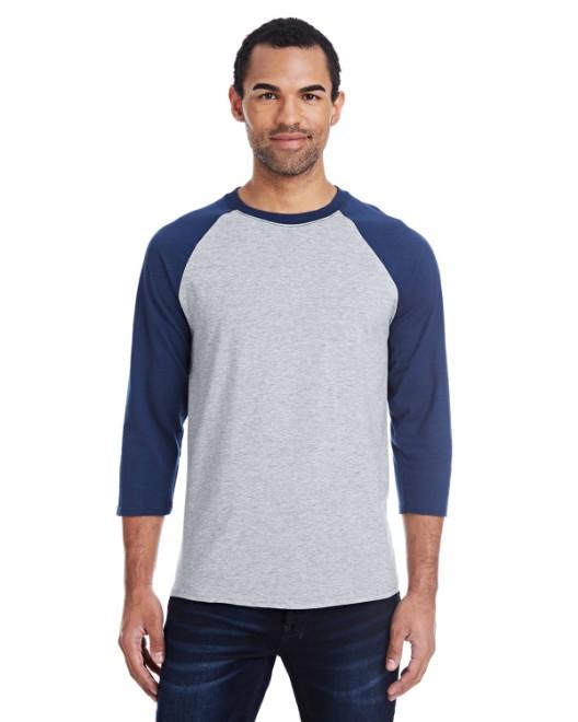 Picture of Hanes 42BA Men's 4.5 oz., 60/40 Ringspun Cotton/Polyester X-Temp Baseball T-Shirt