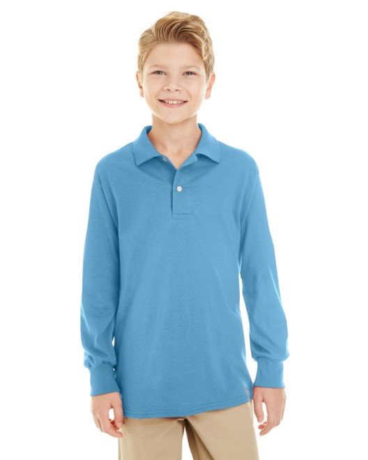 Picture of Jerzees 437YL Youth 5.6 oz. SpotShield Long-Sleeve Jersey Polo