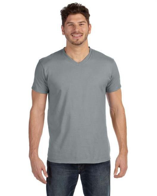 Picture of Hanes 498V Adult 4.5 oz., 100% Ringspun Cotton nano-T V-Neck T-Shirt