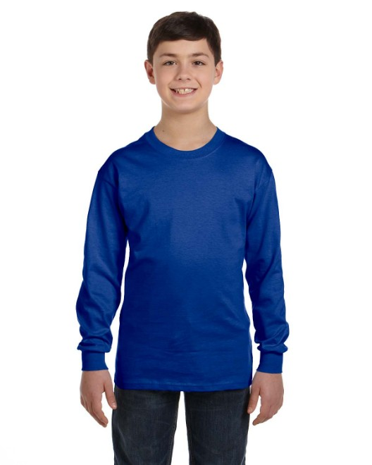 Picture of Hanes 5546 Youth 6.1 oz. Tagless Long-Sleeve T-Shirt