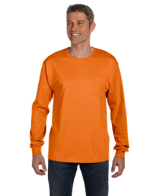 Picture of Hanes 5596 Men's 6.1 oz. Tagless Long-Sleeve Pocket T-Shirt