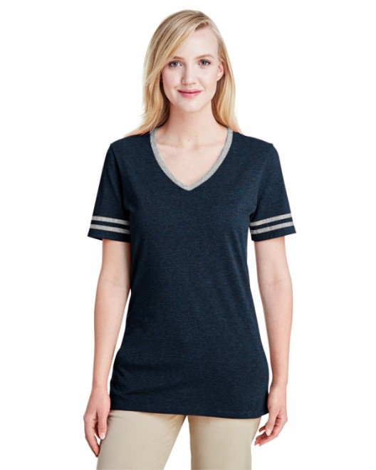 Picture of Jerzees 602WVR Womens 4.5 oz. TRI-BLEND Varsity V-Neck T-Shirt