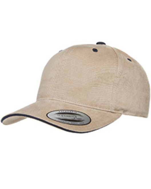 Picture of Yupoong 6262S Adult Brushed Cotton Twill 6-Panel Mid-Profile Sandwich Cap