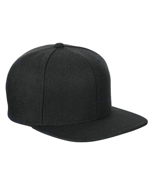 Picture of Yupoong 6689 Adult 6-Panel Melton Wool Structured Flat Visor Classic Snapback Cap