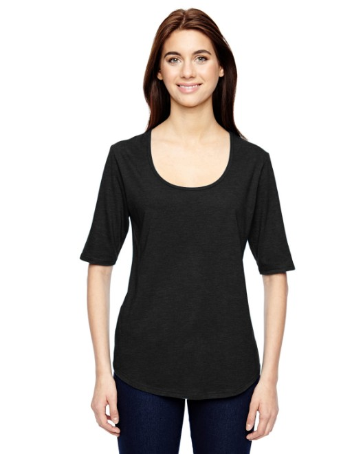 Picture of Anvil 6756L Womens Triblend Deep Scoop 1/2-Sleeve T-Shirt