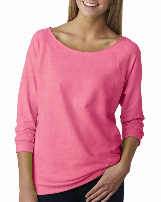 Picture of Next Level 6951 Womens French Terry 3/4-Sleeve Raglan