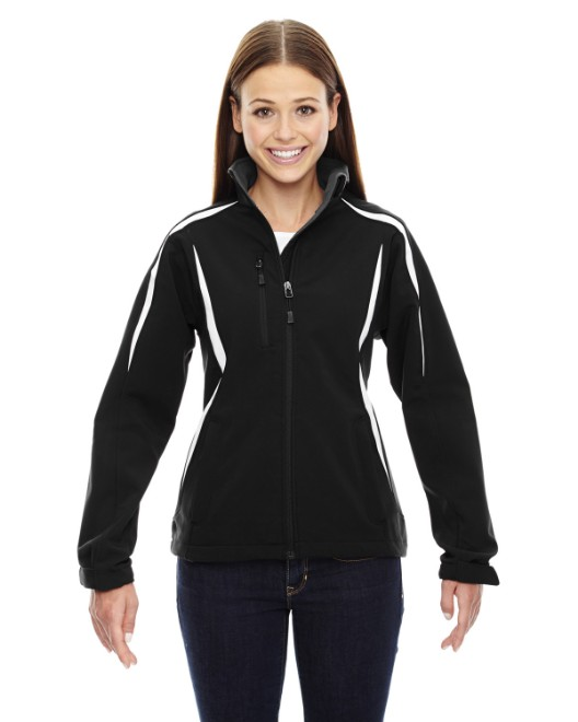 Picture of Ash City - North End 78650 Womens Enzo Colorblocked Three-Layer Fleece Bonded Soft Shell Jacket
