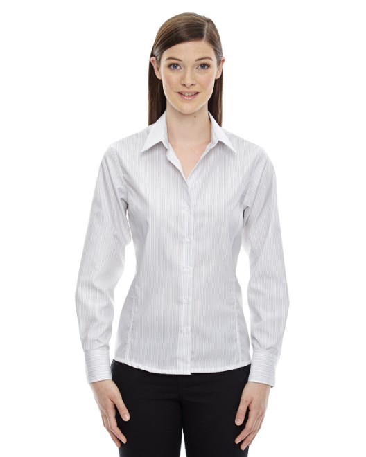 Picture of Ash City - North End 78674 Womens Boardwalk Wrinkle-Free Two-Ply 80's Cotton Striped Tape Shirt