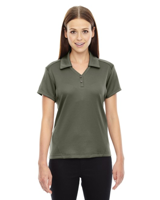 Picture of Ash City - North End 78803 Womens Exhilarate Coffee Charcoal Performance Polo with Back Pocket