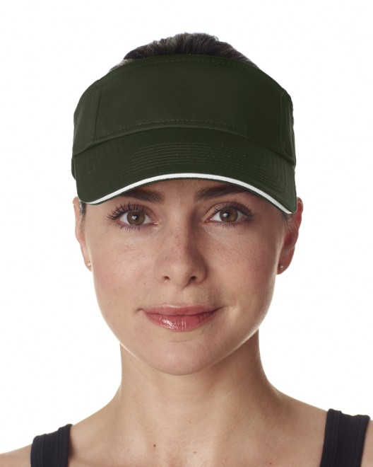 Picture of UltraClub 8113 Adult Classic Cut Brushed Cotton Twill Sandwich Visor