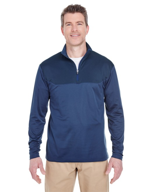 Picture of UltraClub 8233 Adult Cool & Dry Sport Colorblock Quarter-Zip Pullover