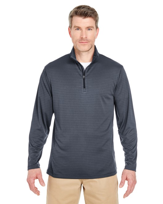 Picture of UltraClub 8235 Adult Striped Quarter-Zip Pullover