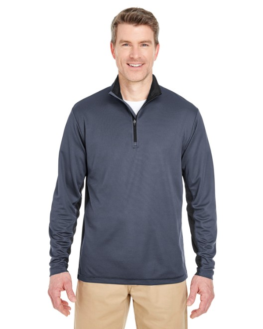 Picture of UltraClub 8237 Adult Two-Tone Keyhole Mesh Quarter-Zip Pullover