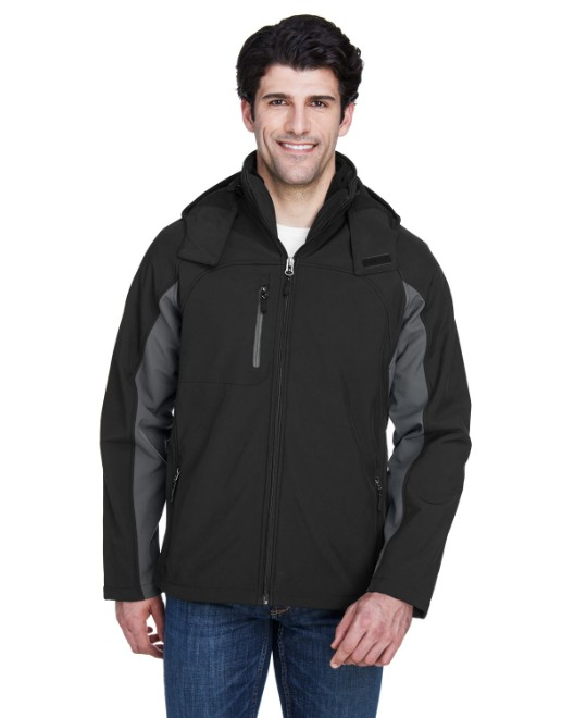 Picture of UltraClub 8290 Adult Colorblock 3-in-1 Systems Hooded Soft Shell Jacket