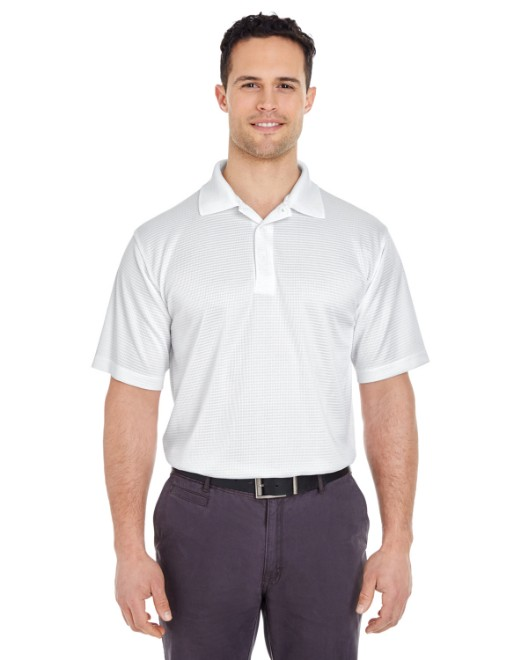 Picture of UltraClub 8305 Men's Cool & Dry Elite Mini-Check Jacquard Polo