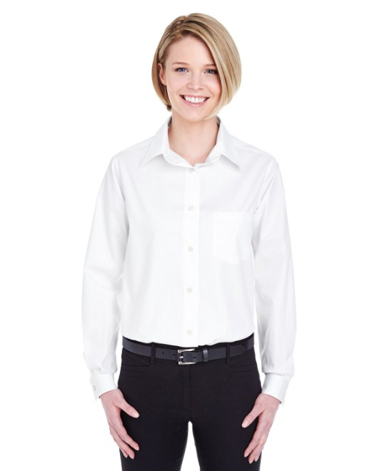 Picture of UltraClub 8361 Womens Long-Sleeve Performance Pinpoint