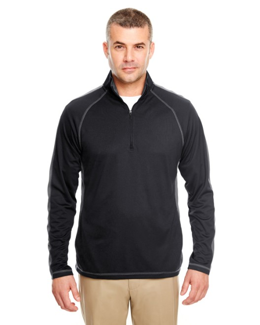 Picture of UltraClub 8398 Adult Cool & Dry Sport Quarter-Zip Pullover with Side and Sleeve Panels