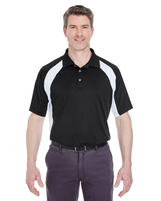 Picture of UltraClub 8427 Adult Cool & Dry Sport Performance Colorblock Interlock Polo