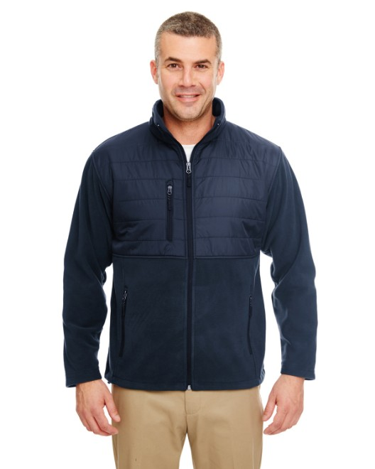 Picture of UltraClub 8492 Men's Fleece Jacket with Quilted Yoke Overlay