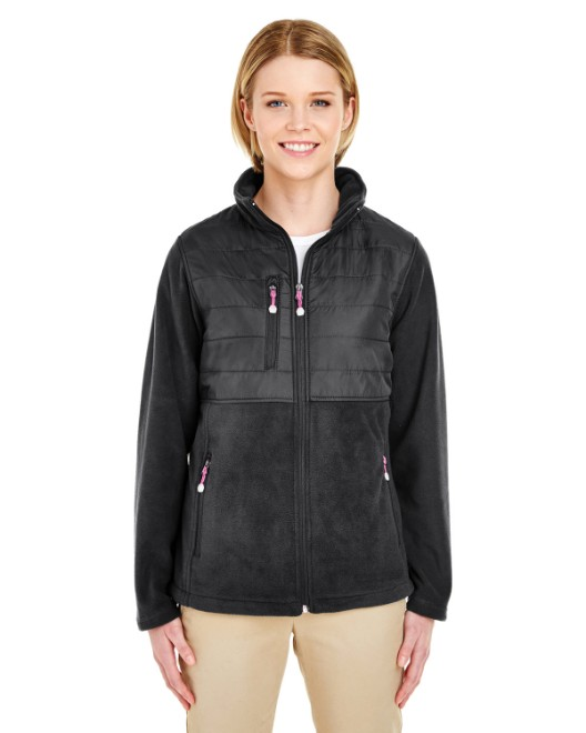 Picture of UltraClub 8493 Womens Fleece Jacket with Quilted Yoke Overlay