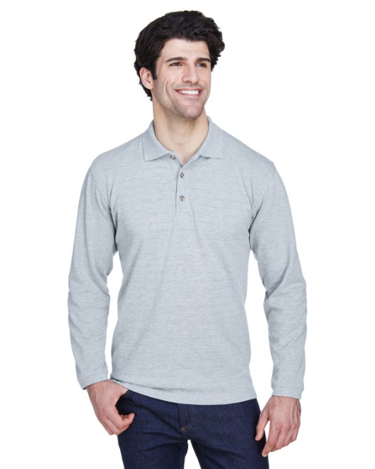 Picture of UltraClub 8532 Adult Long-Sleeve Classic Pique Polo