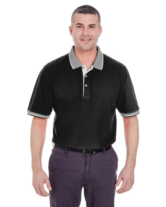 Picture of UltraClub 8537 Adult Color-Body Classic Pique Polo with Contrast Multi-Stripe Trim