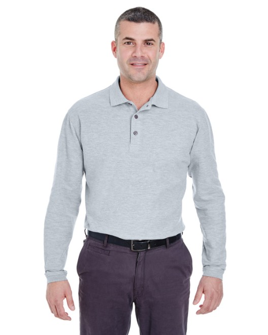 Picture of UltraClub 8542 Adult Long-Sleeve Whisper Pique Polo