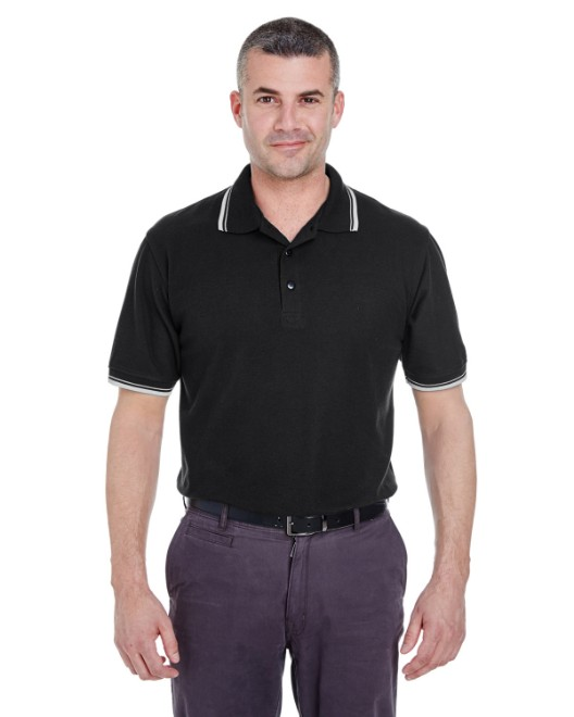Picture of UltraClub 8545 Men's Short-Sleeve Whisper Pique Polo with Tipped Collar and Cuffs