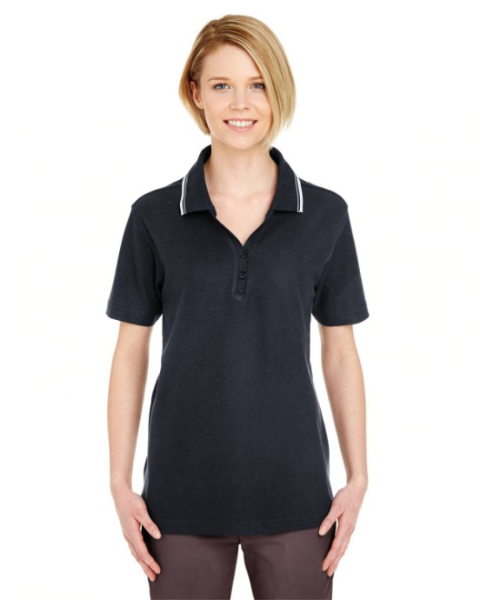 Picture of UltraClub 8546 Womens Short-Sleeve Whisper Pique Polo with Tipped Collar