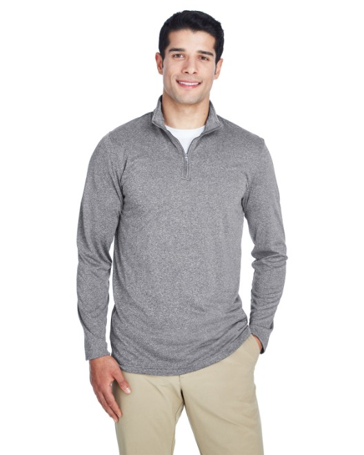 Picture of UltraClub 8618 Men's Cool & Dry Heathered Performance Quarter-Zip