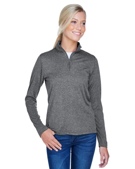 Picture of UltraClub 8618W Ladies' Cool & Dry Heathered Performance Quarter-Zip