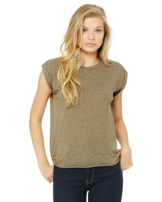 Picture of Bella + Canvas 8804 Womens Flowy Muscle T-Shirt with Rolled Cuff