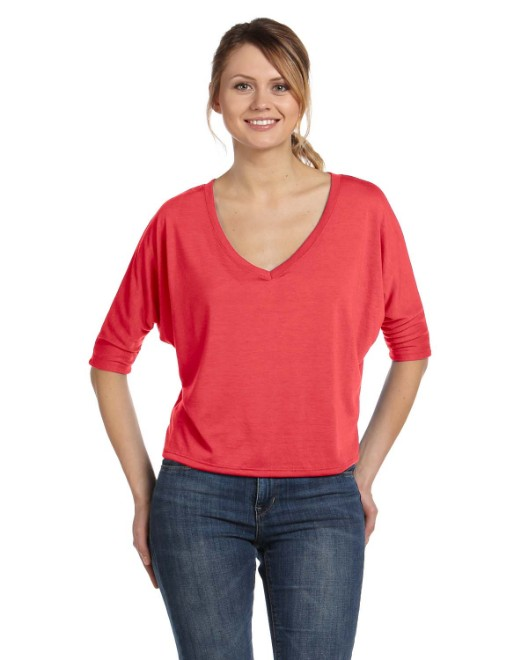Picture of Bella + Canvas 8825 Womens Flowy Boxy Half-Sleeve V-Neck T-Shirt