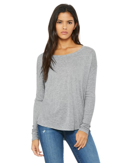 Picture of Bella + Canvas 8852 Womens Flowy Long-Sleeve T-Shirt with 2x1 Sleeves