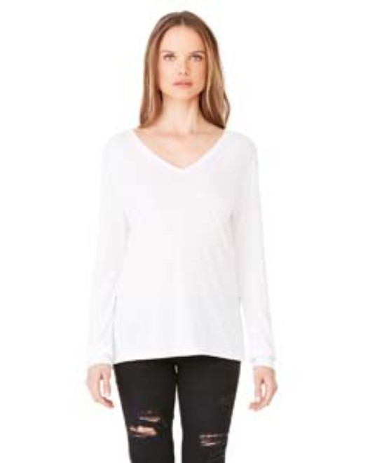Picture of Bella + Canvas 8855 Womens Flowy Long-Sleeve V-Neck