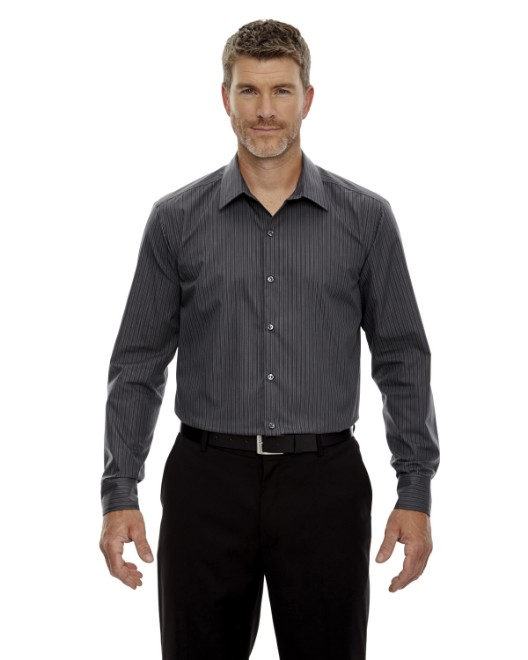 Picture of Ash City - North End 88674 Men's Boardwalk Wrinkle-Free Two-Ply 80's Cotton Striped Tape Shirt