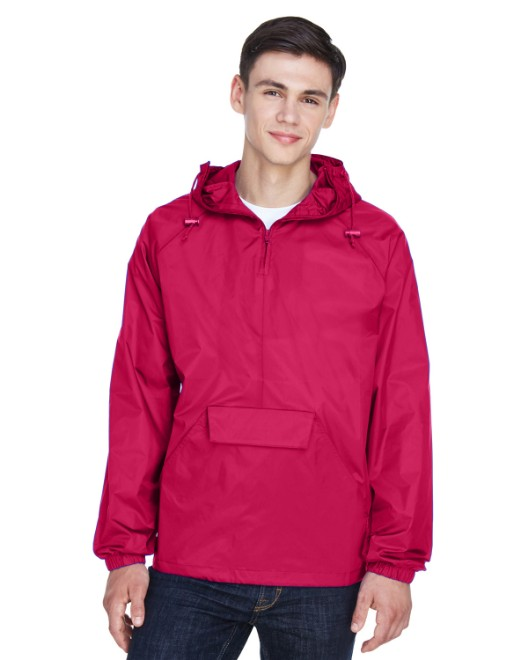 Picture of UltraClub 8925 Adult Quarter-Zip Hooded Pullover Pack-Away Jacket